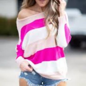 NWOT Pink striped sweater